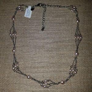 LIA SOPHIA - pale pink pearl, multi-strand necklac